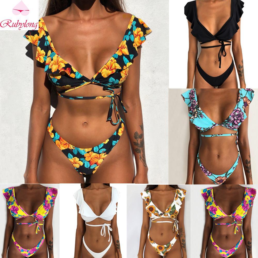Rubylong 2019 Ruffles Bikini Women Sexy Vintage Swimsuit Brazilian Thong Bikini Set Female Retro Swimwear Push Innrech Market.com