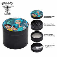 HORNET Domed Sticker Rick & Morty Zinc Alloy Metal Smoking Herb Grinder 50MM 4Layers CNC Teeth Tobacco Weed Grinder Hand Muller