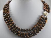 wholesale 3 rows tiger eye stone with pearl clap jewelry necklace