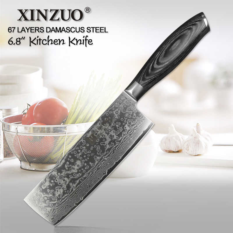 XINZUO 6.8'' inch Nakiri Kitchen Knife VG10 Damascus Steel Chef Knives Japanese Butcher's Knife Meat Knives Pakka wood Handle