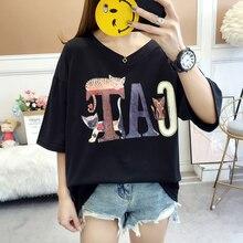 2019 Fashion Women T Shirt Oversized Short Sleeve Tops V-neck Plus Size Cute Cat Letter Print Korean Clothes Female Black