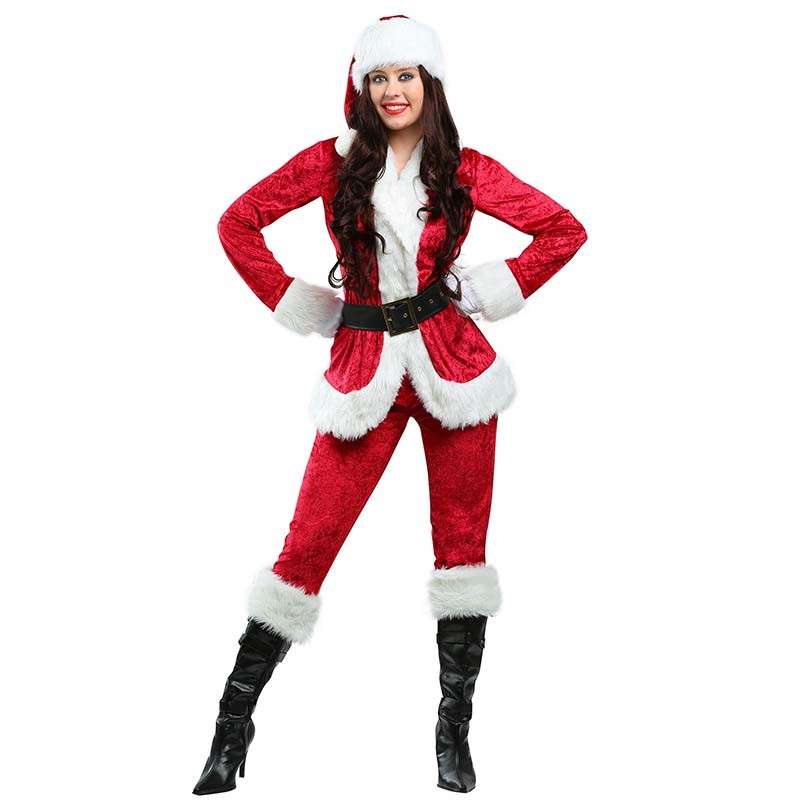 Adult Sweet Santa Costume Jackets Pants Sets Female Halloween Costumes For Women Santa Claus Cosplay Clothing Disfraces Adultos