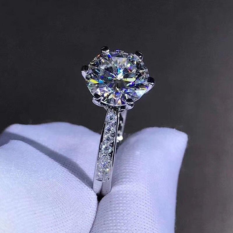925 sterling srebrny pierścień 1ct 2ct 3ct klasyczny styl Moissanite pierścionek z brylantem ślub impreza rocznica biżuteria z GRA certifica w Pierścionki od Biżuteria i akcesoria na  Grupa 3