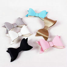 New Big PU leather Big Bow Hairpin Ladies Women Children Hairpins Hair Accessories Girls Baby Hairclips Gifts J55(China)