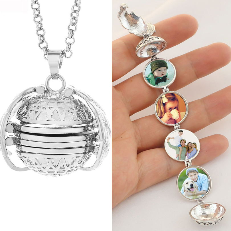 Pendant Locket Jewelry Necklace Memory Floating Angel-Wings Pictures Magic Family 4-Photo