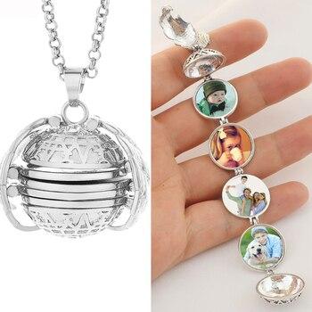 Magia 4 foto pingente medalhão colar memória flutuante asas de anjo fotos da família presente moda jóias kan003