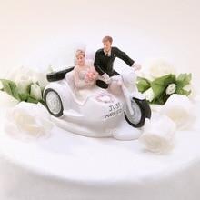 Just Married Bride Groom In Motorcycle Cake Topper Wedding