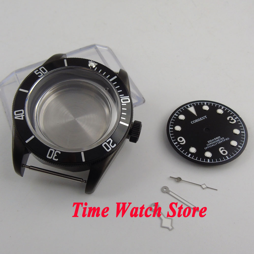 Fit for ETA 2824 2836 MIYOTA movement 41mm sapphire glass Black PVD coated watch case +dial+hands C125 watch parts 41mm watches case for wristwatch black pvd coated cases fit for eta 2836 2824 automatic movement ca2010cap