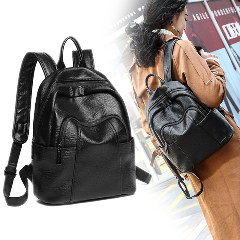 2018 Backpack Women New Cowhide Backpack Black Leather Backpack Women Pu Backpack Style zenteii women faux synthetic leather pu backpack