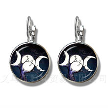 Triple Moon Goddess Wicca Pentagram Magic Amulet Talisman Women Earrings Tibetan Vintage Jewelry Gift For Family Talisman(China)