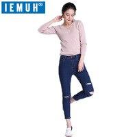 IEMUH Hot Sexy Mulheres Meninas Jeans Denim Angustiado Calças das Mulheres calças de brim Do Furo Jeans Plus Size Jeans Para Mulheres Queda populares estilo