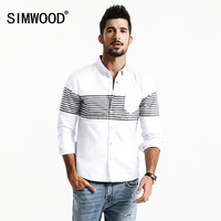 SIMWOOD 2017 New Spring Summer Casual Shirts Men Striped Fashion Slim Fit 100 Pure Cotton Plus