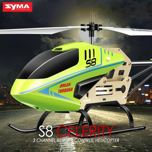 Syma s8 rc 헬리콥터 자이로 원격 제어 헬리콥터 항공기 산산조각 방지 깜박이 가벼운 합금 완구 어린이 선물 용품
