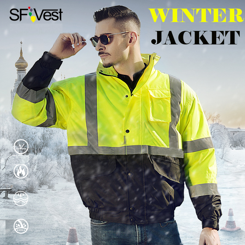ANSI/ISEA 107 Class 3 High visibility Waterproof Safety Bomber Jacket Winter Safety Gear Mens Winter Insulated Jacket  ANSI/ISEA 107 Class 3 High visibility Waterproof Safety Bomber Jacket Winter Safety Gear Mens Winter Insulated Jacket