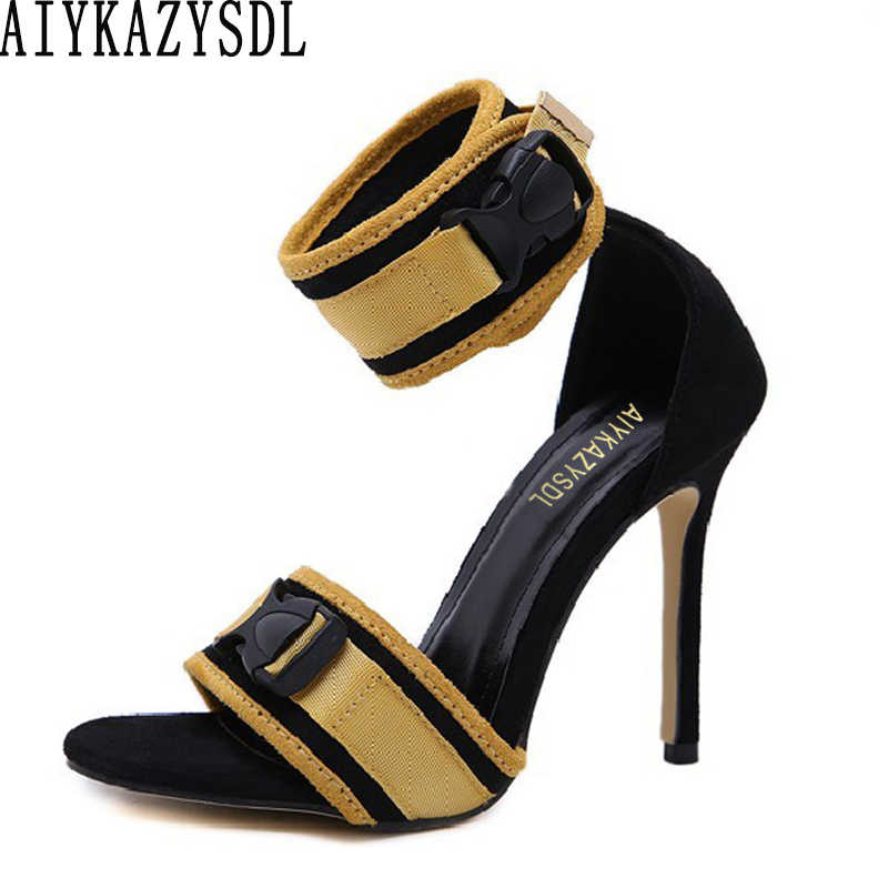 AIYKAZYSDL Women Mixed Color Sandals Open Toe Ankle Strap High Heels Rome Gladiator Sandals Flock Stilettos Party Clubwear Shoes
