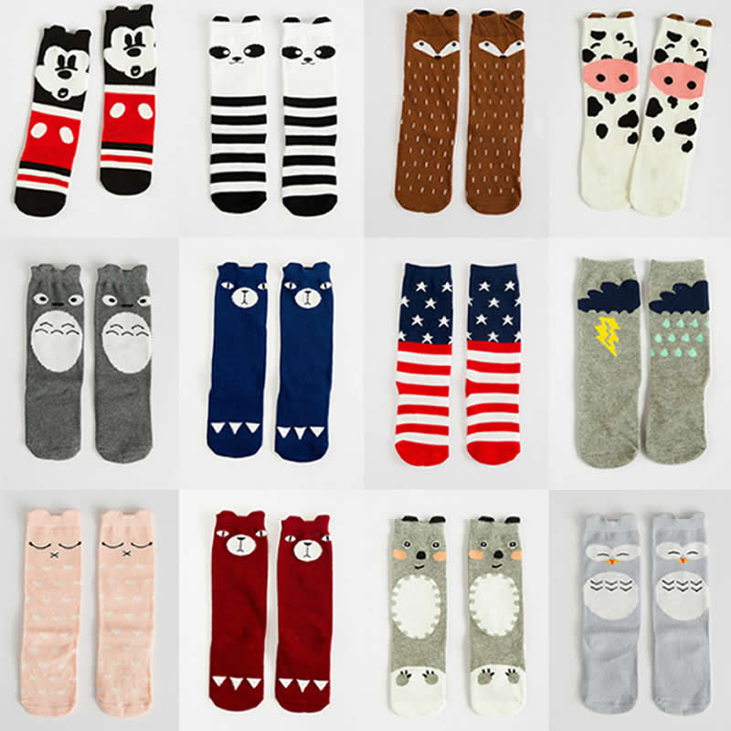 Children Socks Cartoon Mouse Fox Totoro Pattern Style Baby Socks Cotton Small Boy Girl Knee High Leg Warm Big Kids Short Sock