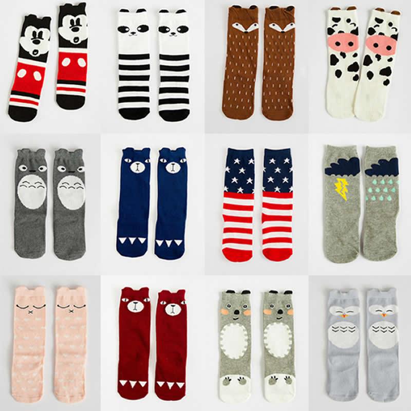 Children Socks Cartoon Mouse Fox Totoro Pattern Style Baby Socks Cotton Small Boy Girl Knee High Leg Warm Big Kids Short Sock