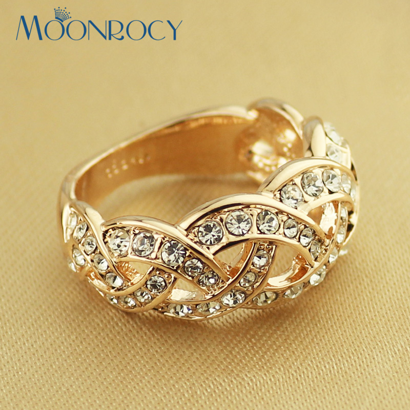 MOONROCY Free Shipping Fashion Jewelry Wholesale Cubic Zirconia Rose Gold Color Vintage Austrian Crystal Rings for Women Gift