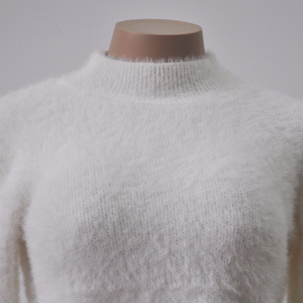 18 New Autumn and Winter Women Wool Cropped Jumpers Fluffy Mohair Sweater Mujer Pullover Sweaters Crop Top Black Pink 8