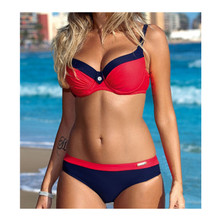European and American new large size big chest hard bag bikini swimsuit sexy gathering multi-color womens body