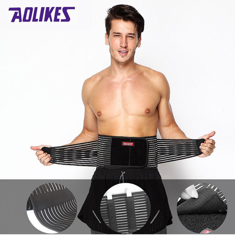 AOLIKES soporte Lumbar cintura dolor Espalda lesiones soporte para Fitness levantamiento de pesas cinturones deportivos Corrector de seguridad Espalda