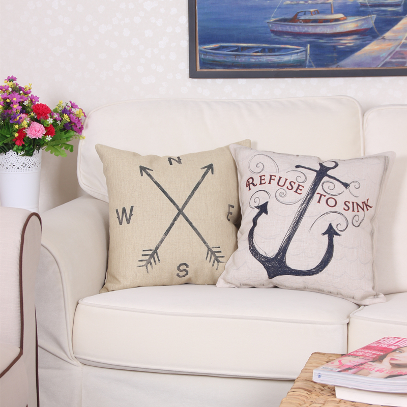 2017 Mediterranean Sea Voyager Ship Boat Anchor Pillowcase Cushion Cover Linen Cotton Throw Pillow Case Pillow for Chair 45*45cm