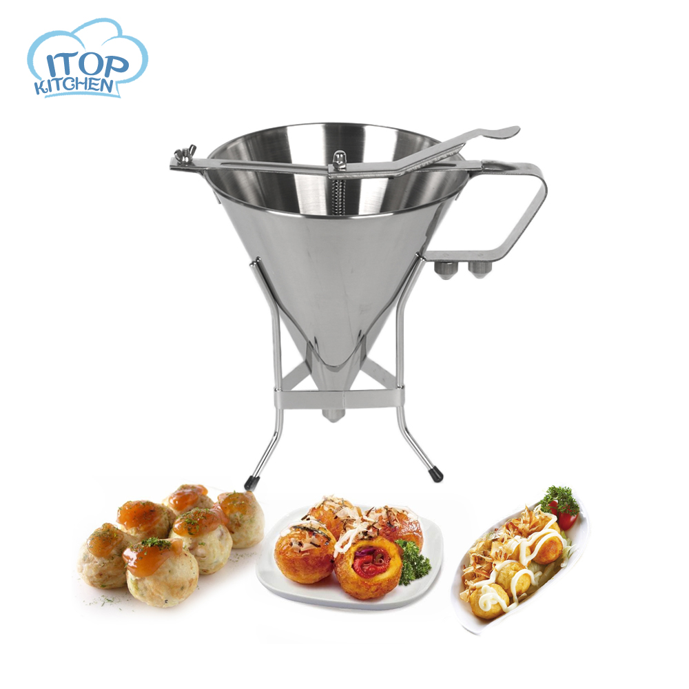 ITOP Stainless Steel Small Octopus Balls Making Funnel Cupcakes Baking Dispenser with Rack Kitchen Utensils Funnel