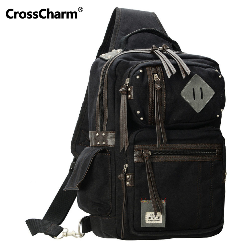 Crosscharm Men Vintage Shoulder Backpack Canvas Leather Casual Satchel Bag For Teenagers Man Rucksack Fit A4 Quality DBH-40043