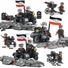hot compatible LegoINGlys Military figures blocks World War II Motorcycle infantry Blitz With weapon guns Building