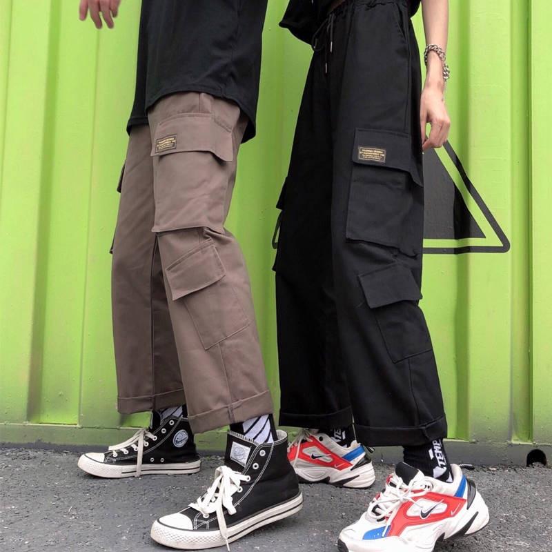 Cool Streetwear Cargo Pants Women 2019 Women Wide Leg Vintage Harem Pants Black Korean Black Overalls Joggers Pants Trousers