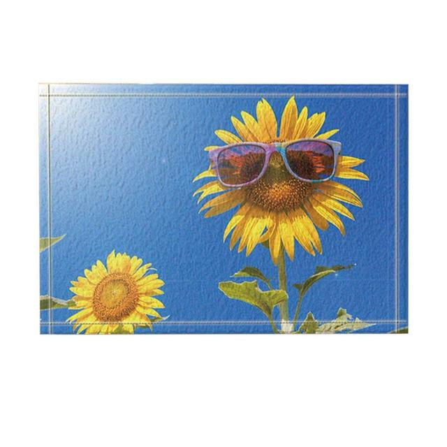 Abstract Decor Sunflowers with Sunglasses under Blue Sky Bath Rugs Non-Slip Doormat Bathroom Accessories