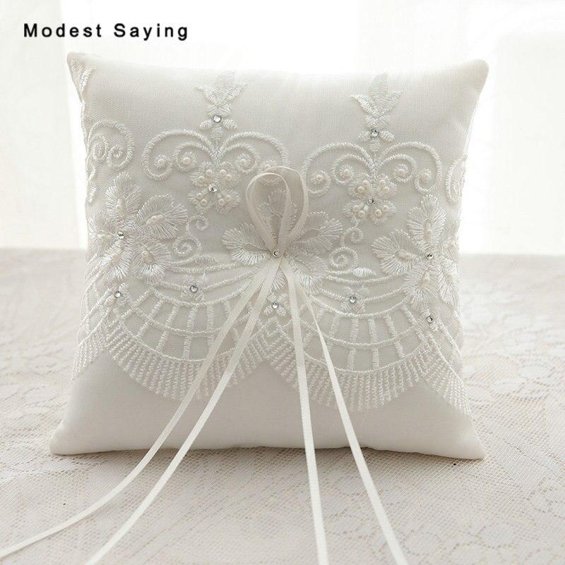 e653c822c57 2018 New Flower Pearls Decoration Bridal Wedding Ceramony Lace Pocket Ring  Pillow Cushion Bearer with Satin