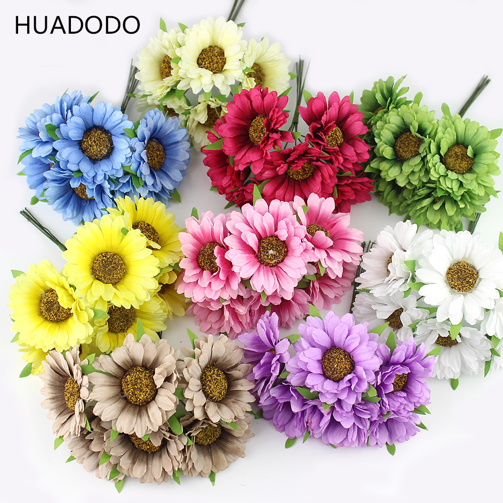 Huadodo 6pcs daisy artificial flower silk sunflower for Artificial flowers for wedding decoration