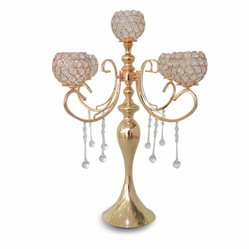 79de44cb581b wedding candelabra 65cm Tall wedding centerpiece 5-balls crystal candle  holder wedding supply Table centerpiece