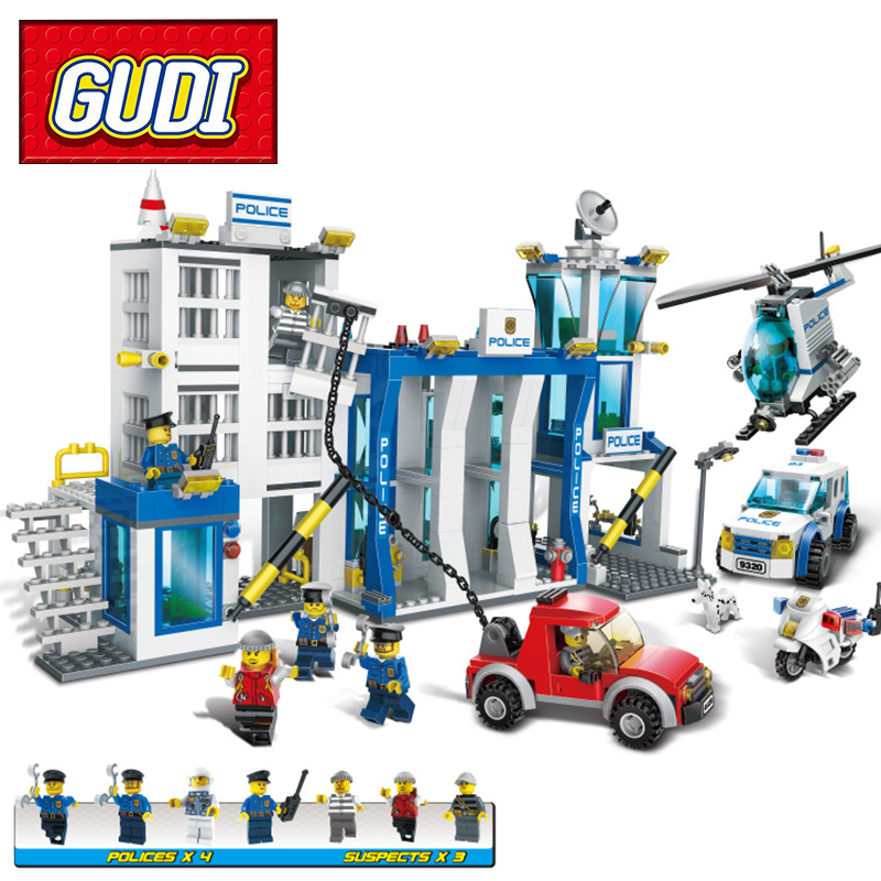 GUDI 9320 870pcs Police Station Helicopter Motorcycle Building Block Kids DIY Bricks Toy for Children Christmas Gift police station park diy track car parking building block toy boy gift learning