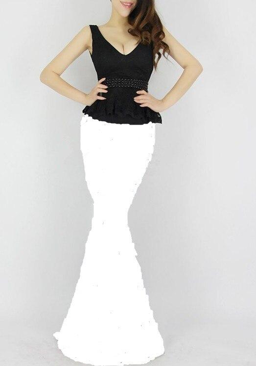 Распродажа, кружевные, v-образная горловина, вечерние платья строгое длинное вечернее платье vestido de festa; robe de soiree Abendkleider H0533 - Цвет: White