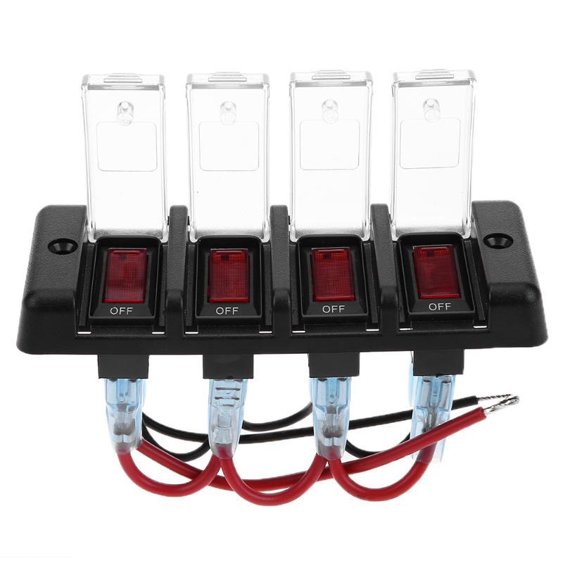 DC12V IP66 четыре бита Мощность выключения 16a перегрузки с красным светом для автомобильных фар Фары работы огни якорь