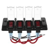 DC12V IP66 Four Bit Power Off Switch 16A Overload Protector With Red Light For Car Headlights