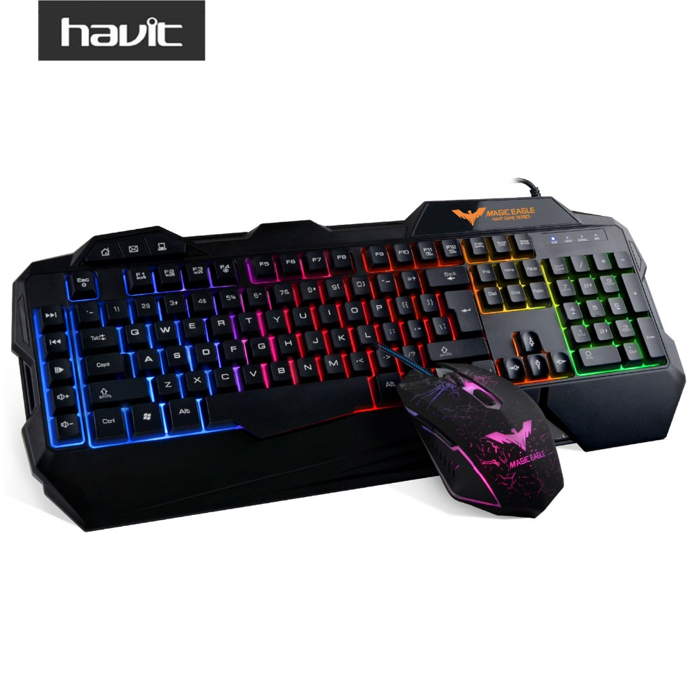HAVIT HV-KB558CM USB Wired LED Gaming Keyboard and Mouse Combo Set Backlit with US Layout for Computer Laptop PC Tablet Gamer