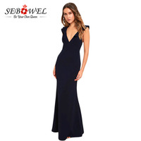 Sebowel 2018 Women Sleeveless Backless Elegant Floor Length Vintage Dresses Gown Deep V Neck Ruffle Sexy
