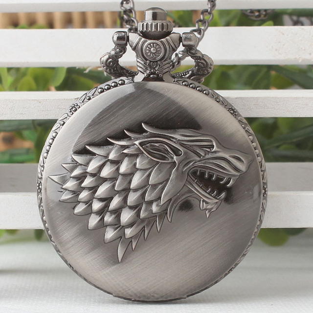 Hot Necklace Watches Gray Tone Honorable Stark House Wolf Quartz Pocket Watch Pe