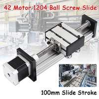 100mm Slide Stroke CNC Linear Motion Lead 1204 Ball Screw Slide Stage Stroke 42 Motor Actuator