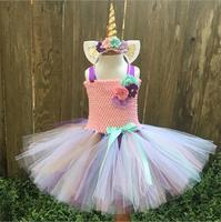 Unicorn Dress Fancy Baby Girl Tutu Dress Costume For Children Headband Christmas Halloween Costume Girls Party