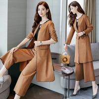 Plus Size 4XL Autumn Elegant Office Lady Business Suits Female Two Piece Sets Femme Long Blazer coat and Trouser women suits