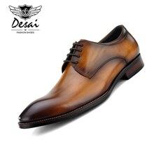 Desai/ г., итальянская ручная работа, винтажная Роскошная Брендовая обувь для свадебной вечеринки, деловая обувь из натуральной кожи, Мужская обувь в стиле Дерби на плоской подошве