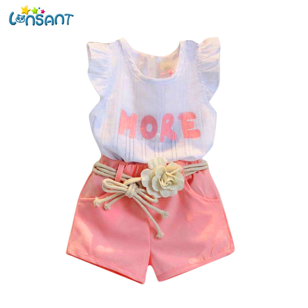 LONSANT Toddler Kids Cute Sweet Baby Girls Print Sleeveless T-Shirt+Shorts+Belt Flower Outfits Sleeveless Clothes Set lonsant new 2018 summer baby girls kids girls love heart bow vest t shirt bow plaid shorts set sleeveless round neck clothing