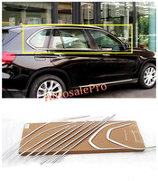 For BMW X5 F15 2014 2015 Stainless Steel Door Window Frame Sill Top+Bottom Moulding Trims Bright
