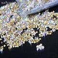 1400 unids 1.3mm Deslumbrante color del AB Nail Rhinestones Mini Señaló Parte Inferior de Cristal Piedras Decoración Del Arte Del Clavo Herramientas Del Clavo de DIY SS3