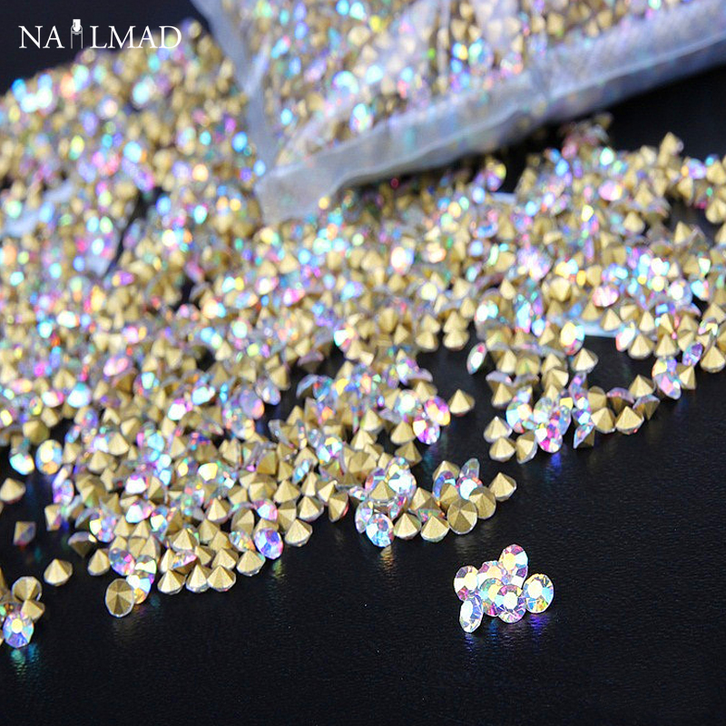 1400pcs 1.3mm Dazzling AB color Nail Rhinestones Mini Pointes