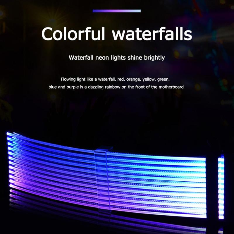 PC Case Waterfall Neon RGB PSU Line <font><b>24Pin</b></font> Motherboard Power <font><b>Extension</b></font> Adapter <font><b>Cable</b></font> for E-ATX , ATX , Micro ATX Motherboard etc image